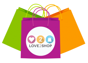 Love 2 Shop logo with bags